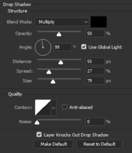 Bland mode, Opacity, Angle, Distance, Spread, Seize etc options